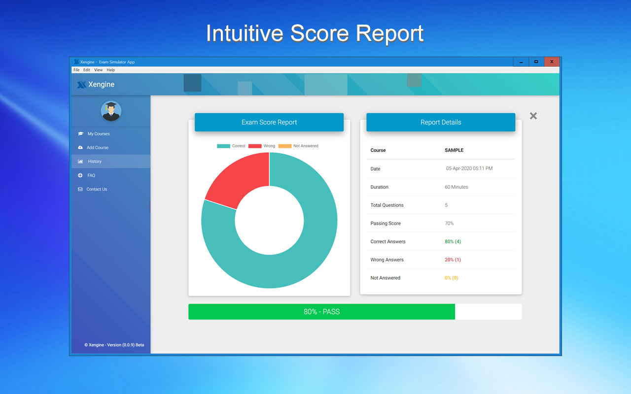 MD-100 Intuitive Score Report