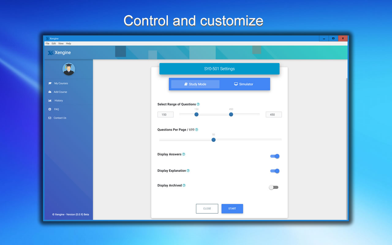 A00-225 FREE VCE Control and Customize via Settings