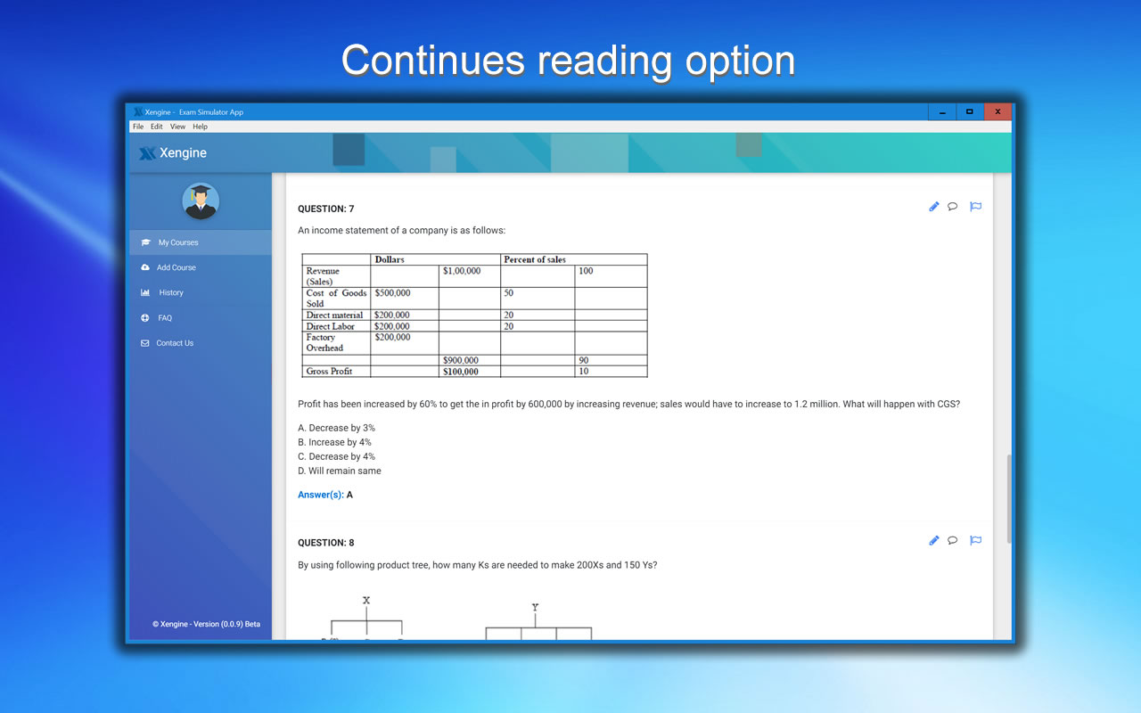050-710 Test Engine continues reading option